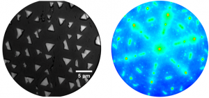 Figure 2: (left) LEEM image and (right) LEED pattern of cerium oxide on Ru(0001).[B. Kaemena, S. D. Senanayake, A. Meyer, J. T. Sadowski, J. Falta, and J. I. Flege, J. Phys. Chem. C 117, 221 (2013)].