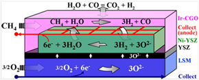 Figure 1:  Schematic operation principle of gradual internal reforming of CH4 with catalyst layer and internal anodic collecting system in SOFC
