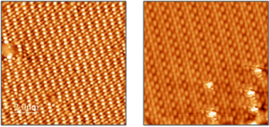 STM images of a FeO bi-layer on Pd(100) (left) and a CuWO4 nanolayer on Cu(110) (right).