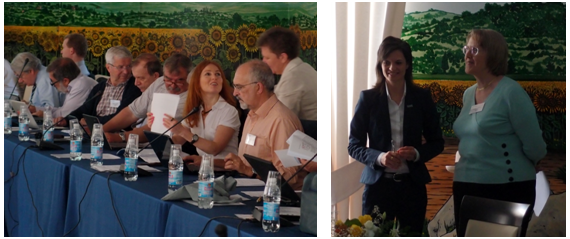 Administrative Officer Svetlana Voinova in action for the Domain Committee members (left). Science Officer Lucia Forzi introducing Action Chair Rona Ramsey (Action CM1103) reporting highlights on structure-based drug design for diagnosis and treatment of neurological diseases (right).