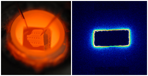 Left: Set-up used for microelectrode studies with tips contacting a microelectrode and the counter electrode. Right: Tracer image obtained after polarizing a rectangular Pt thin film microelectrode on YSZ illustrating high three-phase boundary activity during oxygen reduction.