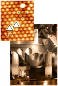 UHV non-contact atomic force microscope revealing the atomic structure, defects and water molecules on a CeO2(111) surface.